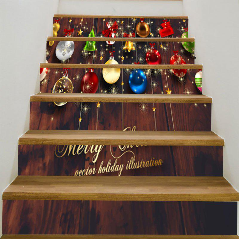 Baubles and Wooden Pattern Decorative Stair StickersHOME<br><br>Size: 6PCS:39*7 INCH( NO FRAME ); Color: COLORFUL; Wall Sticker Type: Plane Wall Stickers; Functions: Stair Stickers; Theme: Christmas; Pattern Type: Wood Grain; Material: PVC; Feature: Removable; Weight: 0.3100kg; Package Contents: 1 x Stair Stickers (Set);