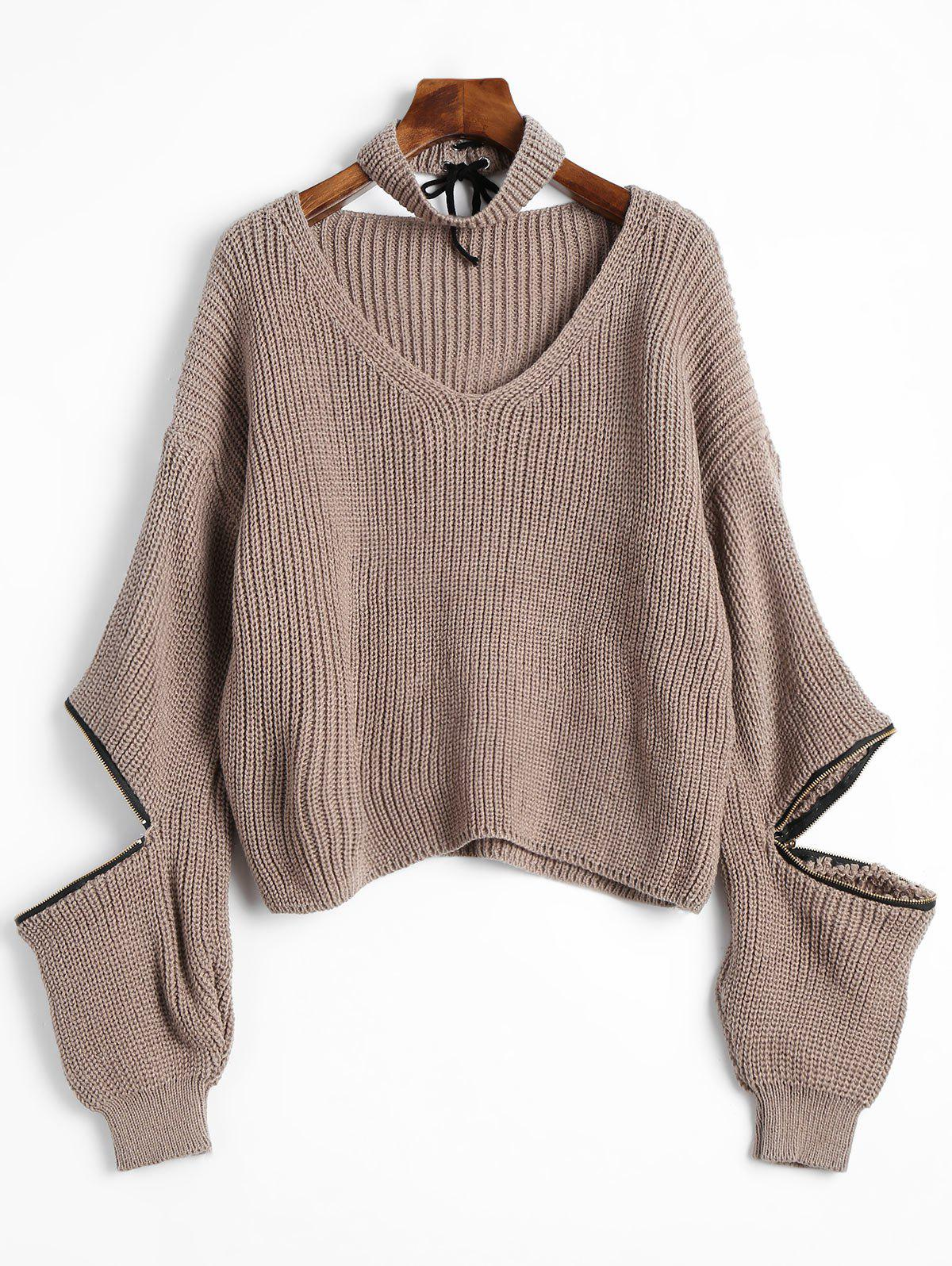 V Neck Zip Embellished Sweater with ChokerWOMEN<br><br>Size: ONE SIZE; Color: KHAKI; Type: Pullovers; Material: Acrylic; Sleeve Length: Full; Collar: V-Neck; Style: Fashion; Pattern Type: Solid; Season: Fall,Spring,Winter; Weight: 0.4650kg; Package Contents: 1 x Sweater 1 x Choker;