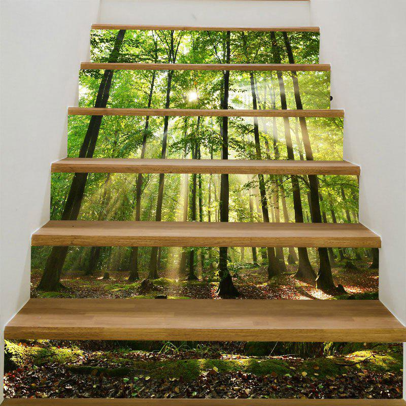 6Pcs Sunlight Forest Printed Stair StickersHOME<br><br>Size: 6PCS:39*7 INCH( NO FRAME ); Color: GREEN; Wall Sticker Type: 3D Wall Stickers; Functions: Stair Stickers; Theme: Landscape; Pattern Type: 3D,Scenic; Material: PVC; Feature: Removable; Weight: 0.3100kg; Package Contents: 6 x Stair Stickers (Pcs);