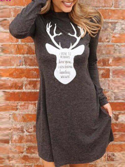 Christmas Elk Print Long Sleeve Tee DressWOMEN<br><br>Size: S; Color: COFFEE; Style: Brief; Material: Polyester; Silhouette: A-Line; Dresses Length: Mini; Neckline: Crew Neck; Sleeve Length: Long Sleeves; Pattern Type: Animal; With Belt: No; Season: Fall; Weight: 0.3300kg; Package Contents: 1 x Dress; Occasion: Casual;