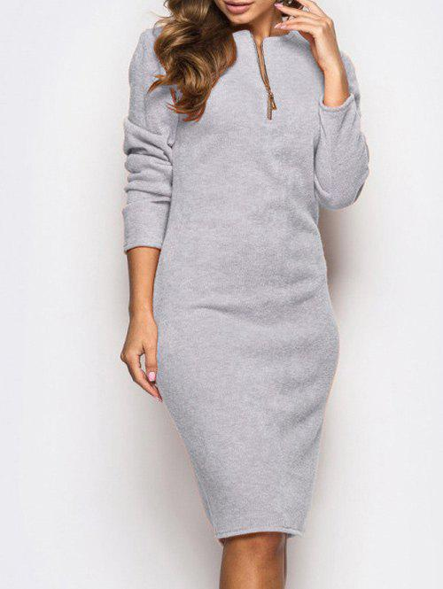 Outfits Knee Length Zip Bodycon Dress