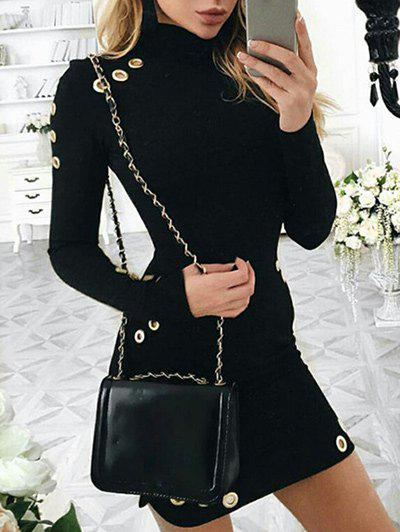 Short Bodycon Dress with EyeletsWOMEN<br><br>Size: L; Color: BLACK; Style: Brief; Material: Polyester; Silhouette: Bodycon; Dresses Length: Mini; Neckline: High Neck; Sleeve Length: Long Sleeves; Pattern Type: Solid Color; With Belt: No; Season: Fall; Weight: 0.3700kg; Package Contents: 1 x Dress;