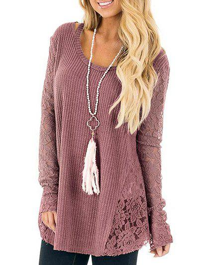 Cold Shoulder Crochet Lace Tunic SweaterWOMEN<br><br>Size: S; Color: PALE PINKISH GREY; Type: Pullovers; Material: Polyester; Sleeve Length: Full; Collar: Scoop Neck; Style: Fashion; Pattern Type: Solid; Embellishment: Cut Out,Hollow Out,Lace; Season: Fall,Winter; Weight: 0.3000kg; Package Contents: 1 x Sweater;
