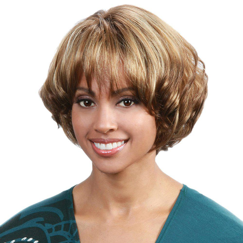 2019 Short Full Bang Fluffy Wavy Bob Synthetic Wig  b4c58018aa79