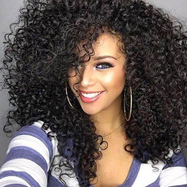 Long Side Bang Shaggy Afro Curly Synthetic WigHAIR<br><br>Color: BLACK; Type: Full Wigs; Cap Construction: Capless (Machine-Made); Style: Afro Curly; Material: Synthetic Hair; Bang Type: Side; Length: Long; Length Size(CM): 50; Weight: 0.3100kg; Package Contents: 1 x Wig;