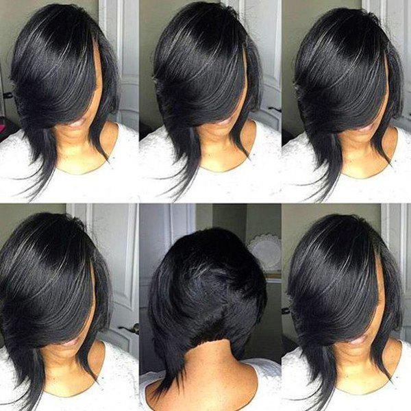 Cheap Short Side Bang Straight Feathered Inverted Bob Synthetic Wig