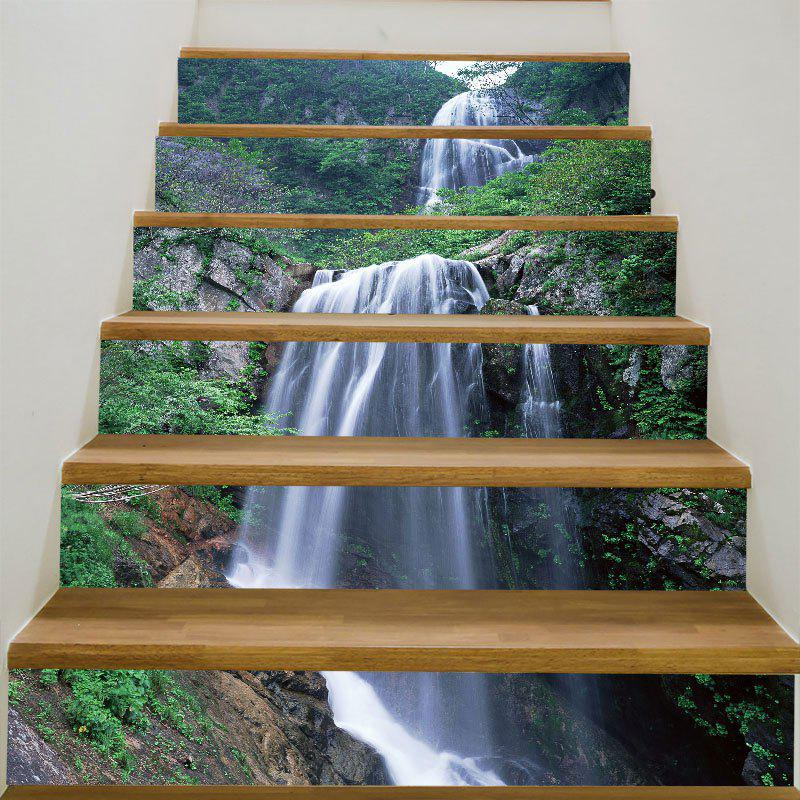 Mountain Layered Waterfall Print 6Pcs Stair StickersHOME<br><br>Size: 6PCS:39*7 INCH( NO FRAME ); Color: GREEN; Wall Sticker Type: 3D Wall Stickers; Functions: Stair Stickers; Theme: Landscape; Pattern Type: 3D,Mountain,Water Drop; Material: PVC; Feature: Removable; Weight: 0.3100kg; Package Contents: 6 x Stair Stickers (Pcs);