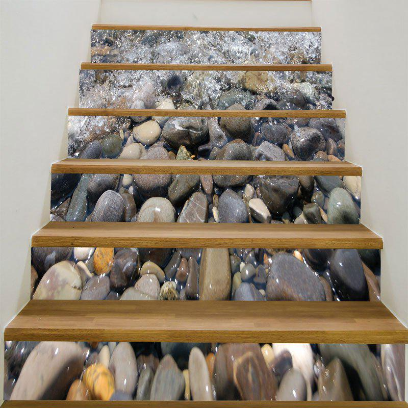 Cobblestones Patterned 6Pcs 3D Stair StickersHOME<br><br>Size: 6PCS:39*7 INCH( NO FRAME ); Color: GRAY; Wall Sticker Type: 3D Wall Stickers; Functions: Stair Stickers; Theme: Landscape; Pattern Type: 3D,Stone; Material: PVC; Feature: Removable; Weight: 0.3100kg; Package Contents: 6 x Stair Stickers (Pcs);