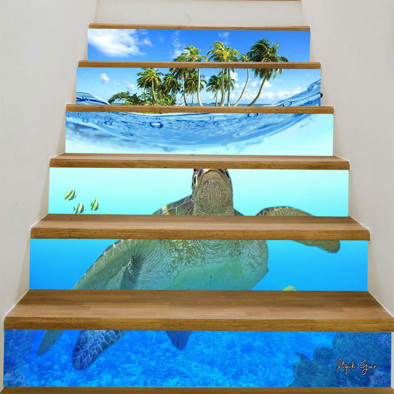 Sea Turtle Coconut Trees Patterned 3D Stair StickersHOME<br><br>Size: 6PCS:39*7 INCH( NO FRAME ); Color: BLUE; Wall Sticker Type: 3D Wall Stickers; Functions: Stair Stickers; Theme: Landscape; Pattern Type: 3D,Animal; Material: PVC; Feature: Removable; Weight: 0.3100kg; Package Contents: 6 x Stair Stickers (Pcs);