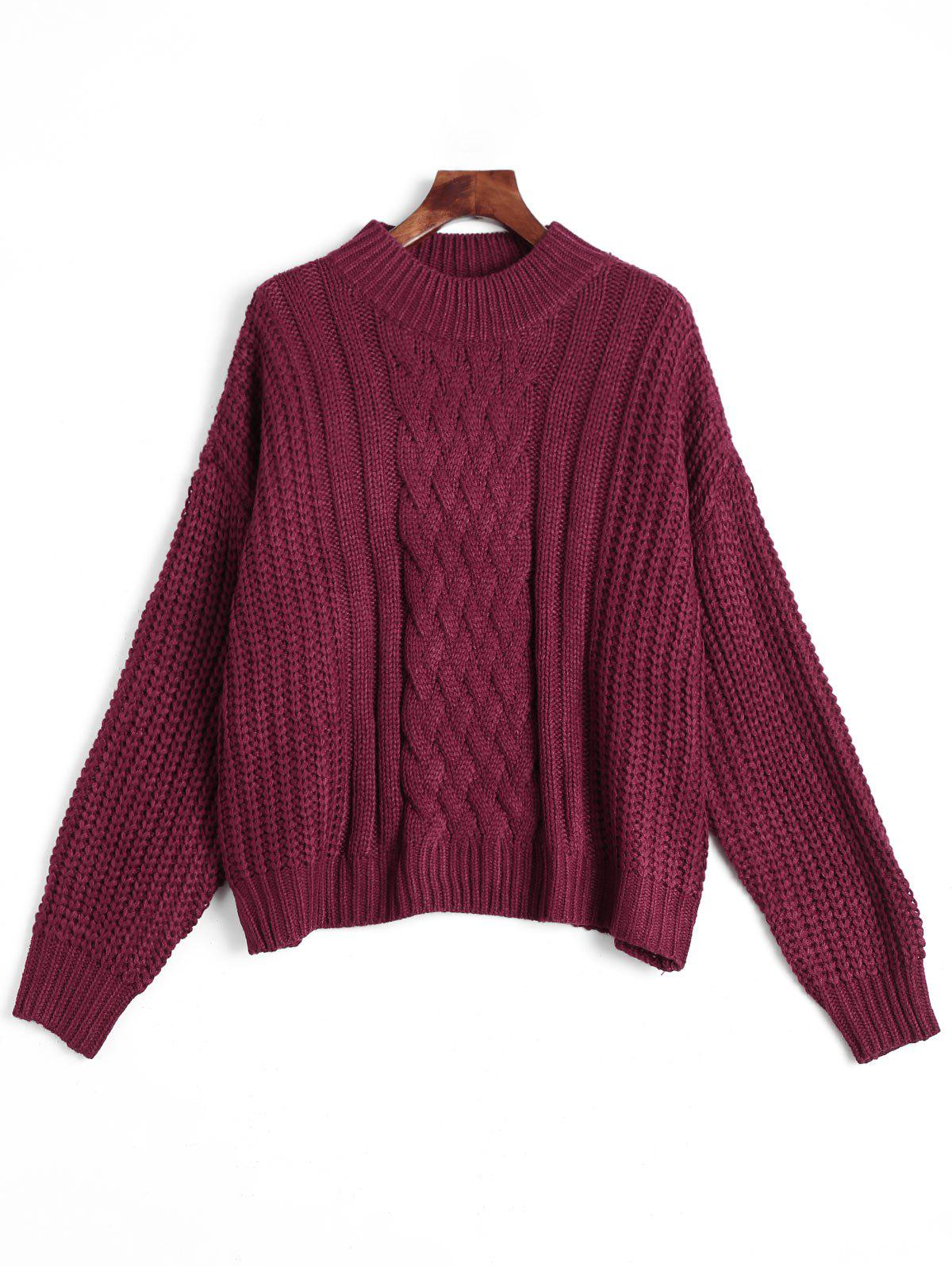 Mock Neck Chunky pull en maille Rouge vineux  Taille Unique
