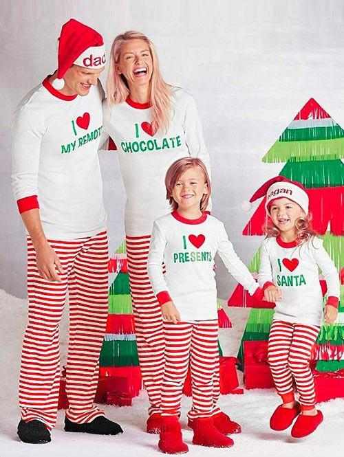 4dddaa06d40d 2018 Love Stripe Matching Family Christmas Pajamas Set In Red Kid 6t ...