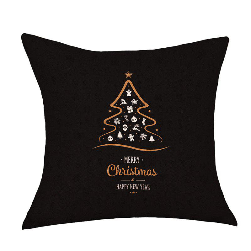 Merry Christmas Tree Print Decorative Linen PillowcaseHOME<br><br>Size: W18 INCH * L18 INCH; Color: BLACK; Material: Linen; Pattern: Christmas Tree,Letter; Style: Festival; Shape: Square; Weight: 0.1200kg; Package Contents: 1 x Pillowcase;