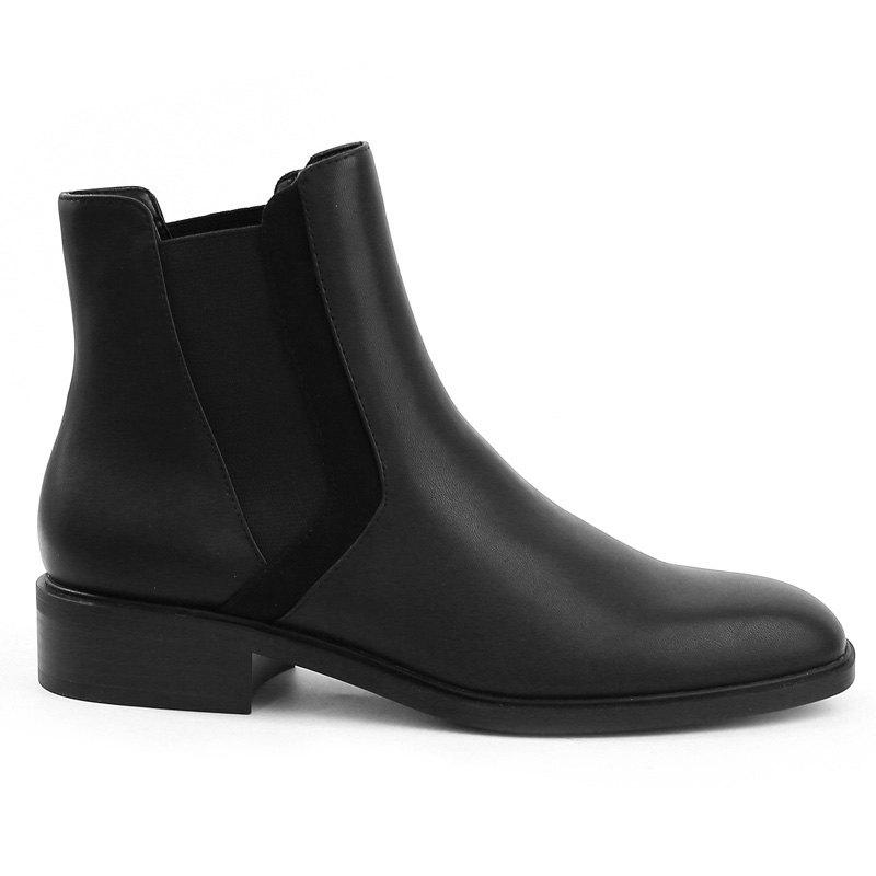 Low Heel Ankle Chelsea BootsSHOES &amp; BAGS<br><br>Size: 39; Color: BLACK; Gender: For Women; Boot Type: Fashion Boots; Boot Height: Ankle; Boot Tube Height: 8CM; Toe Shape: Round Toe; Heel Type: Chunky Heel; Heel Height Range: Low(0.75-1.5); Closure Type: Slip-On; Shoe Width: Medium(B/M); Pattern Type: Solid; Upper Material: PU; Weight: 1.1200kg; Season: Spring/Fall,Winter; Heel Height: 3CM; Package Contents: 1 x Boots (pair);