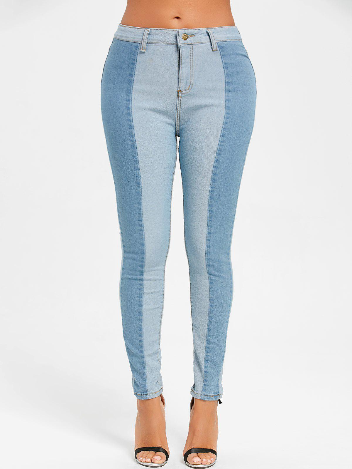 Two Tone Color Skinny Denim JeansWOMEN<br><br>Size: XL; Color: CLOUDY; Material: Cotton,Polyester; Length: Normal; Fabric Type: Denim; Wash: Light; Fit Type: Skinny; Embellishment: Pockets; Weight: 0.4700kg; Package Contents: 1 x Jeans;