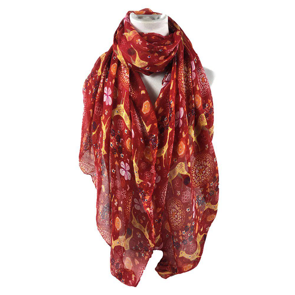 Soft Christmas Deer and Flower Embellished Long ScarfACCESSORIES<br><br>Color: RED; Scarf Type: Scarf; Group: Adult; Gender: Unisex; Style: Fashion; Pattern Type: Animal,Floral; Season: Fall,Spring,Winter; Scarf Length: 180CM; Scarf Width (CM): 85CM; Weight: 0.1200kg; Package Contents: 1 x Scarf;