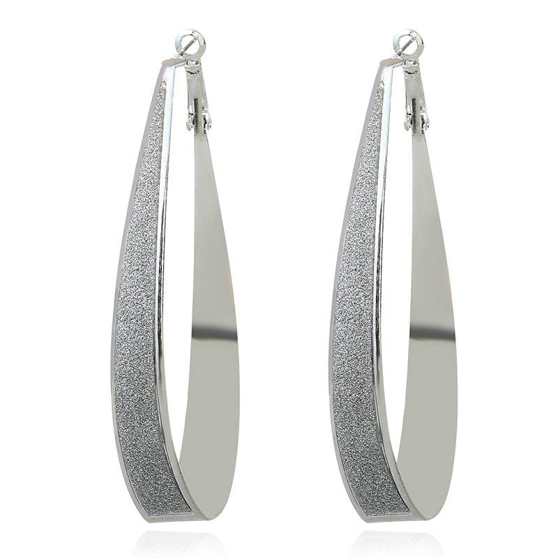 Punk Alloy Teardrop Hoop EarringsJEWELRY<br><br>Color: SILVER; Earring Type: Hoop Earrings; Gender: For Women; Style: Trendy; Shape/Pattern: Water Drop; Length: 8CM; Weight: 0.0200kg; Package Contents: 1 x Earring (Pair);