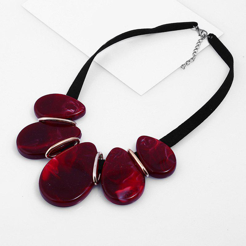 Resin Vintage Teardrop NecklaceJEWELRY<br><br>Color: DEEP RED; Gender: For Women; Material: Resin; Style: Trendy; Shape/Pattern: Water Drop; Length: 50CM; Weight: 0.0600kg; Package Contents: 1 x Necklace;