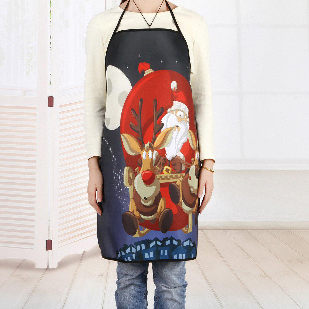 Christmas Santa Sleigh Print Kitchen ApronHOME<br><br>Size: 80*70CM; Color: COLORMIX; Type: Apron; Material: Polyester; Pattern Type: Animal,Santa Claus; Weight: 0.1000kg; Package Contents: 1 x Apron;