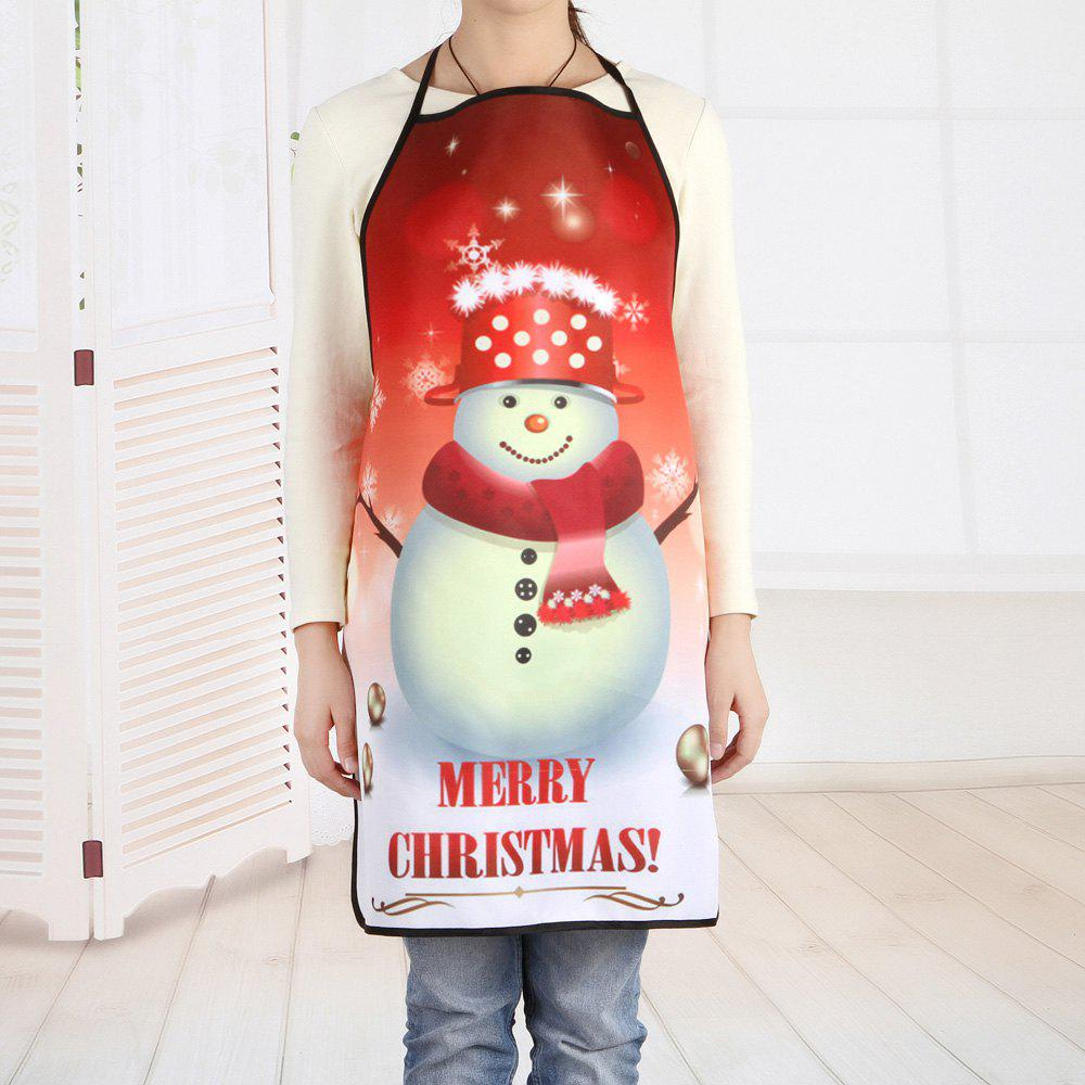 Merry Christmas Snowman Print Kitchen ApronHOME<br><br>Size: 80*70CM; Color: COLORMIX; Type: Apron; Material: Polyester; Pattern Type: Letter,Snowman; Weight: 0.1000kg; Package Contents: 1 x Apron;