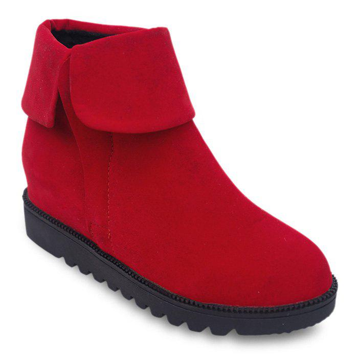 Fold Over Faux Suede Flat BootsSHOES &amp; BAGS<br><br>Size: 38; Color: RED; Gender: For Women; Boot Type: Fashion Boots; Boot Height: Ankle; Toe Shape: Round Toe; Heel Type: Flat Heel; Heel Height Range: Flat(0-0.5); Closure Type: Zip; Shoe Width: Medium(B/M); Pattern Type: Solid; Upper Material: Suede; Weight: 1.1200kg; Season: Spring/Fall,Winter; Heel Height: 3CM; Package Contents: 1 x Boots (pair);
