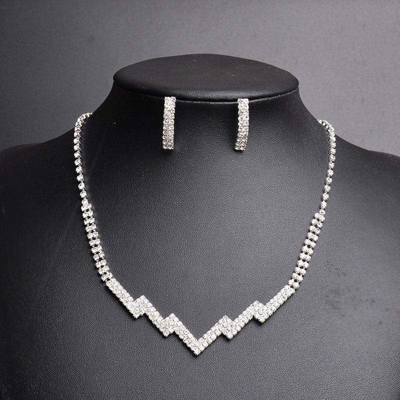 Rhinestone Zig Zag Necklace with Earring SetJEWELRY<br><br>Color: SILVER; Item Type: Pendant Necklace; Gender: For Women; Material: Rhinestone; Style: Trendy; Shape/Pattern: Geometric; Length: 50CM (Necklace Length); Weight: 0.0400kg; Package Contents: 1 x Necklace 1 x Earring (Pair);