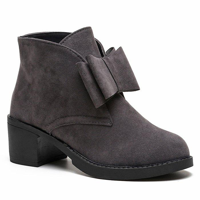 Block Heel Bow Accent Ankle BootsSHOES &amp; BAGS<br><br>Size: 39; Color: GRAY; Gender: For Women; Boot Type: Fashion Boots; Boot Height: Ankle; Boot Tube Height: 9CM; Toe Shape: Round Toe; Heel Type: Chunky Heel; Heel Height Range: Med(1.75-2.75); Closure Type: Slip-On; Shoe Width: Medium(B/M); Pattern Type: Solid; Embellishment: Bow; Upper Material: Suede; Weight: 1.1200kg; Season: Spring/Fall,Winter; Heel Height: 5.5CM; Package Contents: 1 x Boots (pair);