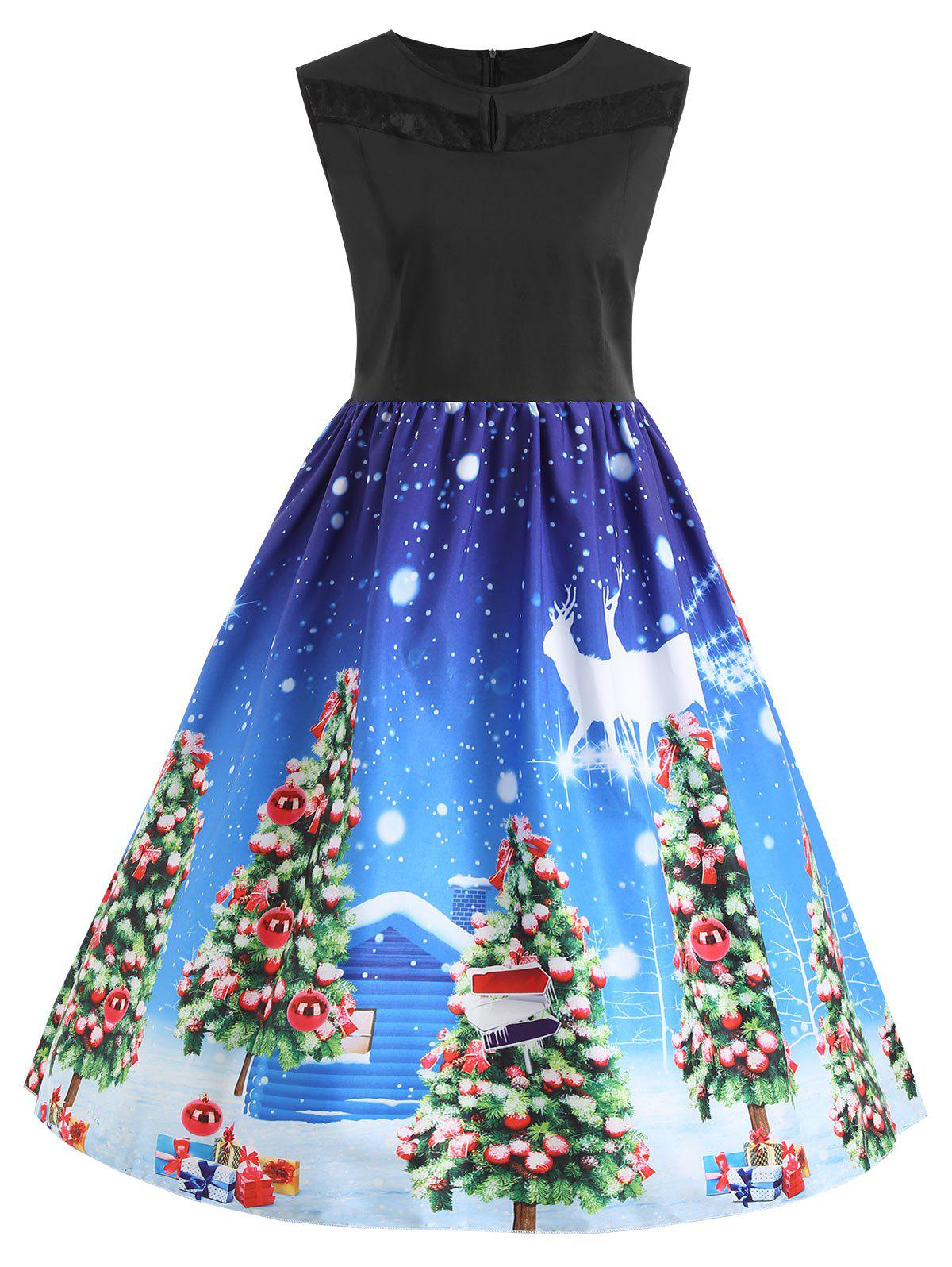 New Christmas Tree Vintage Lace Panel Plus Size Dress