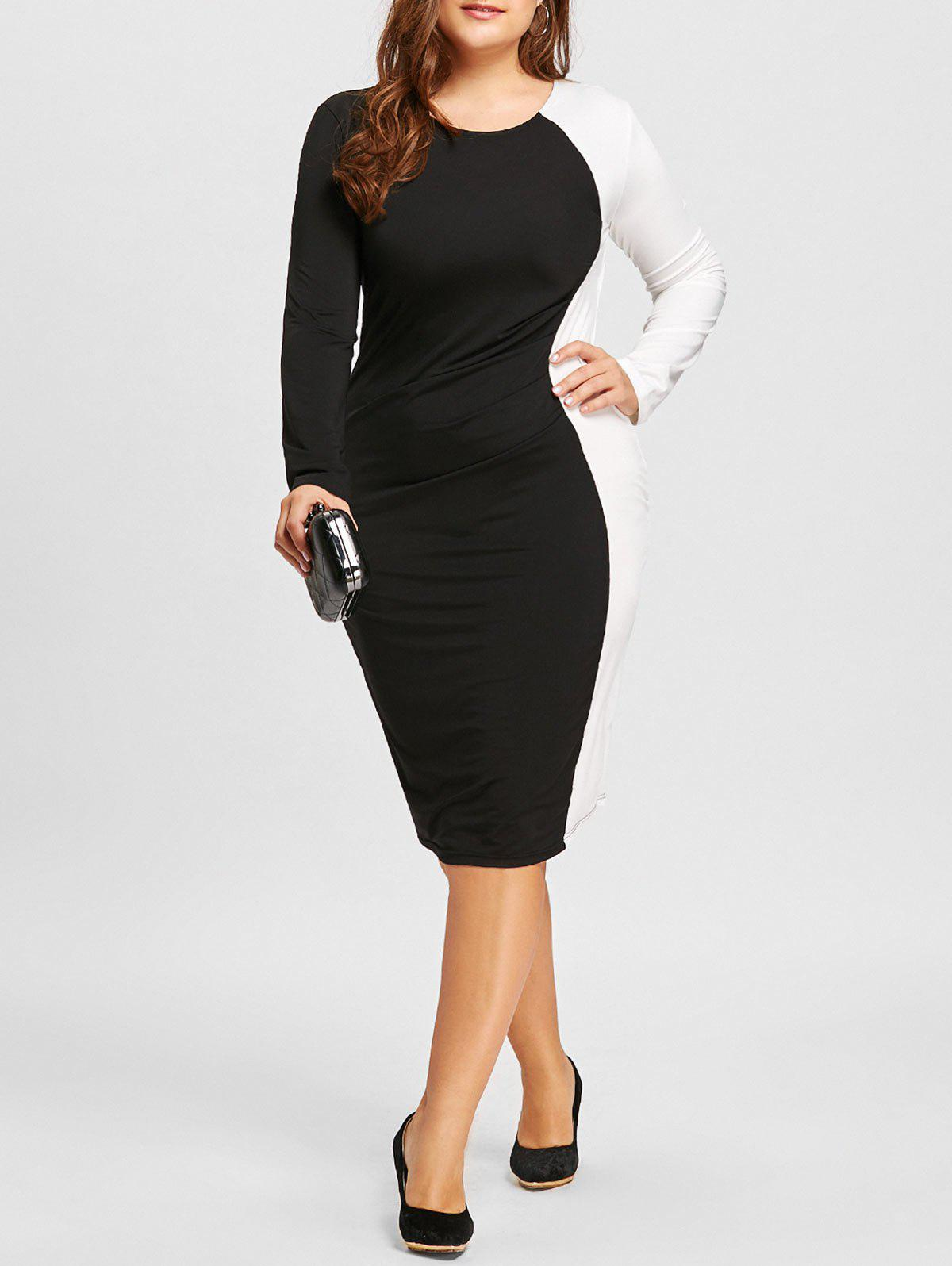 Two Tone Bodycon Plus Size DressWOMEN<br><br>Size: 5XL; Color: WHITE AND BLACK; Style: Casual; Material: Polyester; Silhouette: Bodycon; Dresses Length: Knee-Length; Neckline: Round Collar; Sleeve Length: Long Sleeves; Embellishment: Ruched; Pattern Type: Others; With Belt: No; Season: Fall,Spring; Weight: 0.3700kg; Package Contents: 1 x Dress;