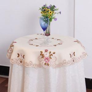 Kitchen Product Round Satin Embroidered Table Cloth -