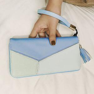 Tassel Color Block Geometric Clutch Wallet -