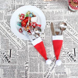 12Pcs Christmas Hat Knife And Fork Bags Set -