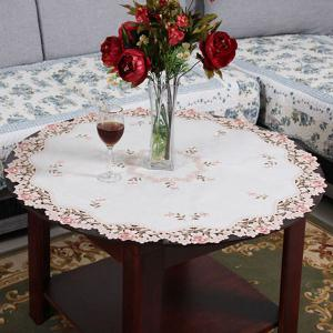 Embroidered Jacquard Polyester Kitchen Round Table Cloth -