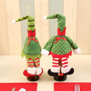 2Pcs Christmas Elf Clothes Wine Bottle Cover Bags -