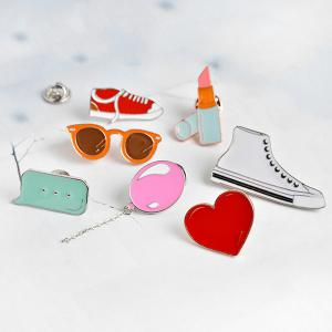 Lipstick Shoe Balloon Heart Glasses Brooch Set -