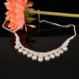 Sparkly Rhinestone Floral Necklace with Earring Set -