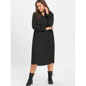 Black One Size Polka Dot Plus Size Shirt Dress With Sleeves ...