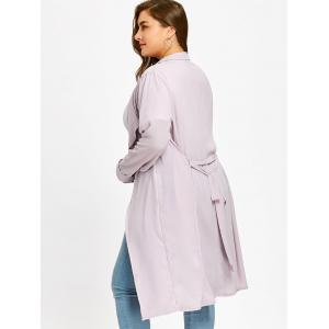 Lapel Belted Plus Size Coat -
