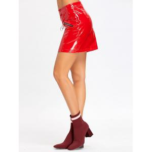 Zippers Mini Faux Leather Skirt -