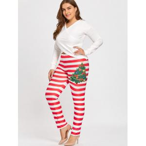 Legging à Rayures Style Noël Grande Taille -