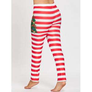Plus Size Christmas Striped Printed Leggings -