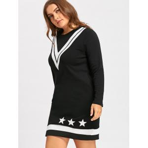 Plus Size V Stripe Stars Straight Sweater Dress -