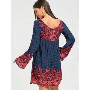 Bohemian Bell Sleeve Keyhole Mini Dress -