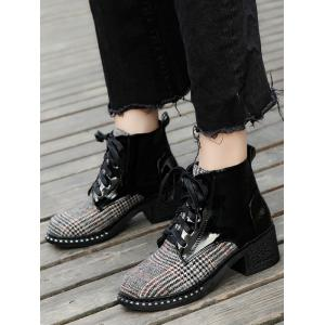 Plaid Rivets Mid Heel Boots -