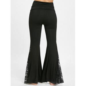 Lace Panel High Waisted Flare Pants -