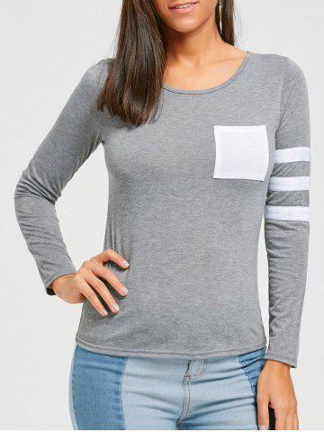 Fashion Color Block Striped Sleeve Pocketed T-shirt
