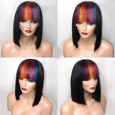 Unique Short Straight Bob Synthetic Wig With Colored Full Bang