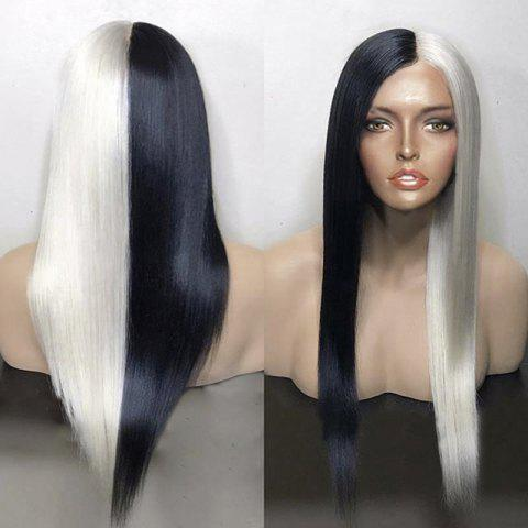 Sale Long Center Parting Color Block Straight Synthetic Wig