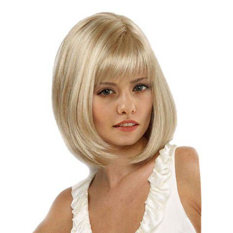 Trendy Medium Full Bang Straight Bob Synthetic Wig