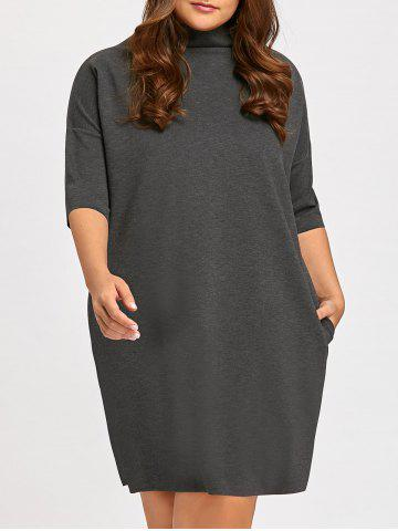 Outfit Casual Plus Size Mock Neck Dolman Sleeve Tunic Dress
