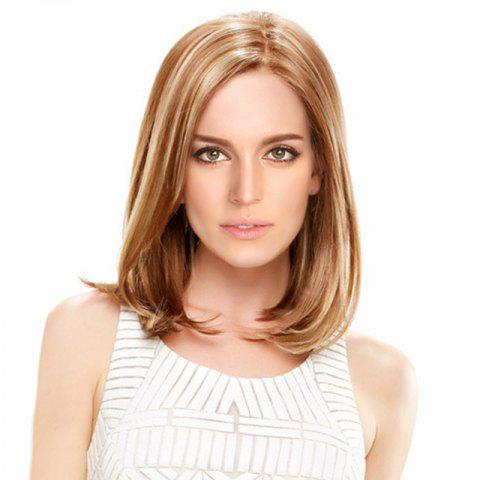 Unique Medium Side Parting Straight Bob Colormix Synthetic Wig